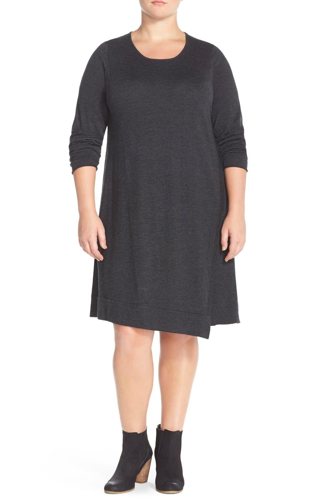 Alternate Image 4  - Eileen Fisher Merino Jersey Jewel Neck Dress (Plus Size)