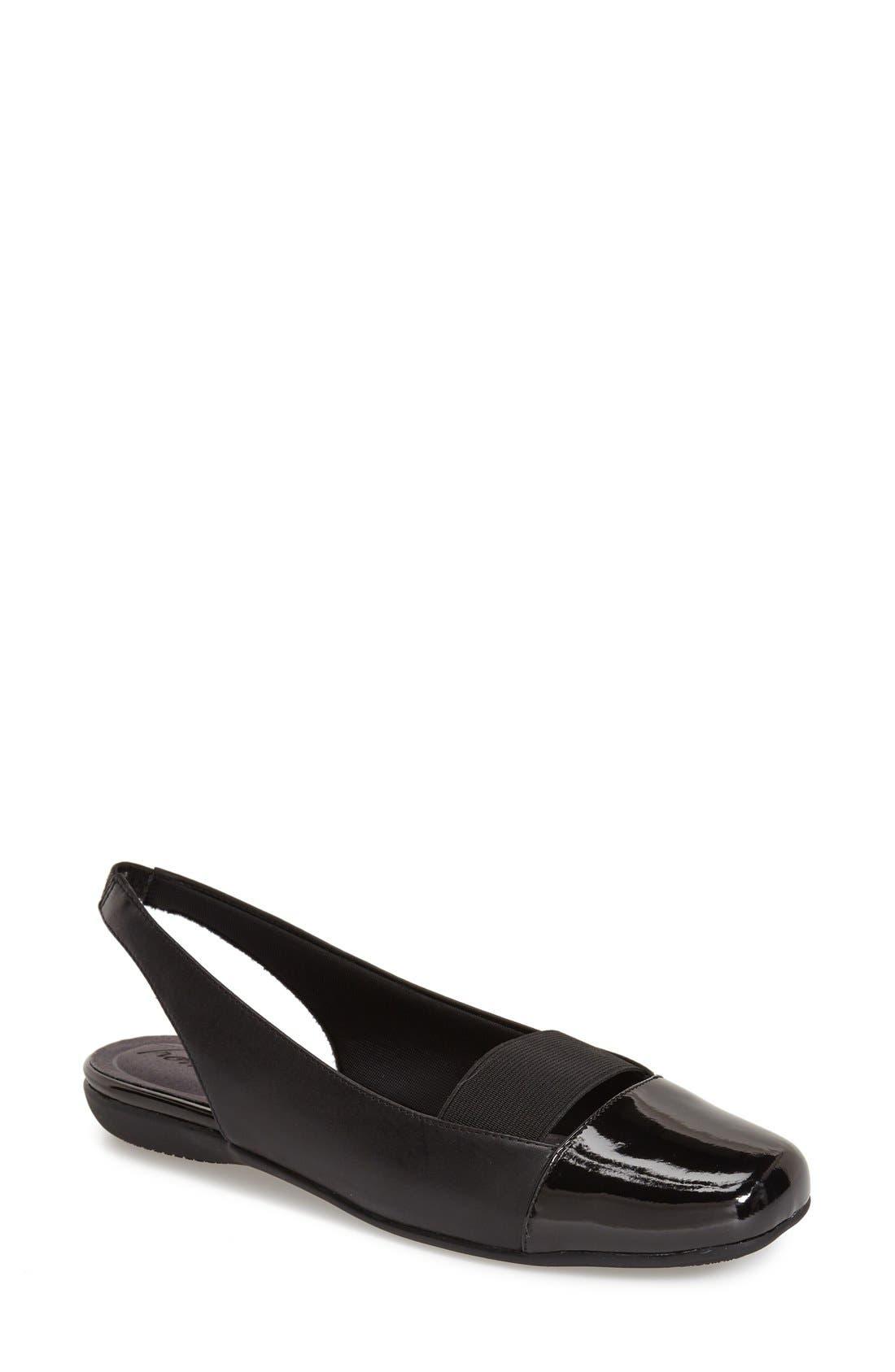 'Sarina' SlingbackFlat,                             Main thumbnail 1, color,                             Black Leather
