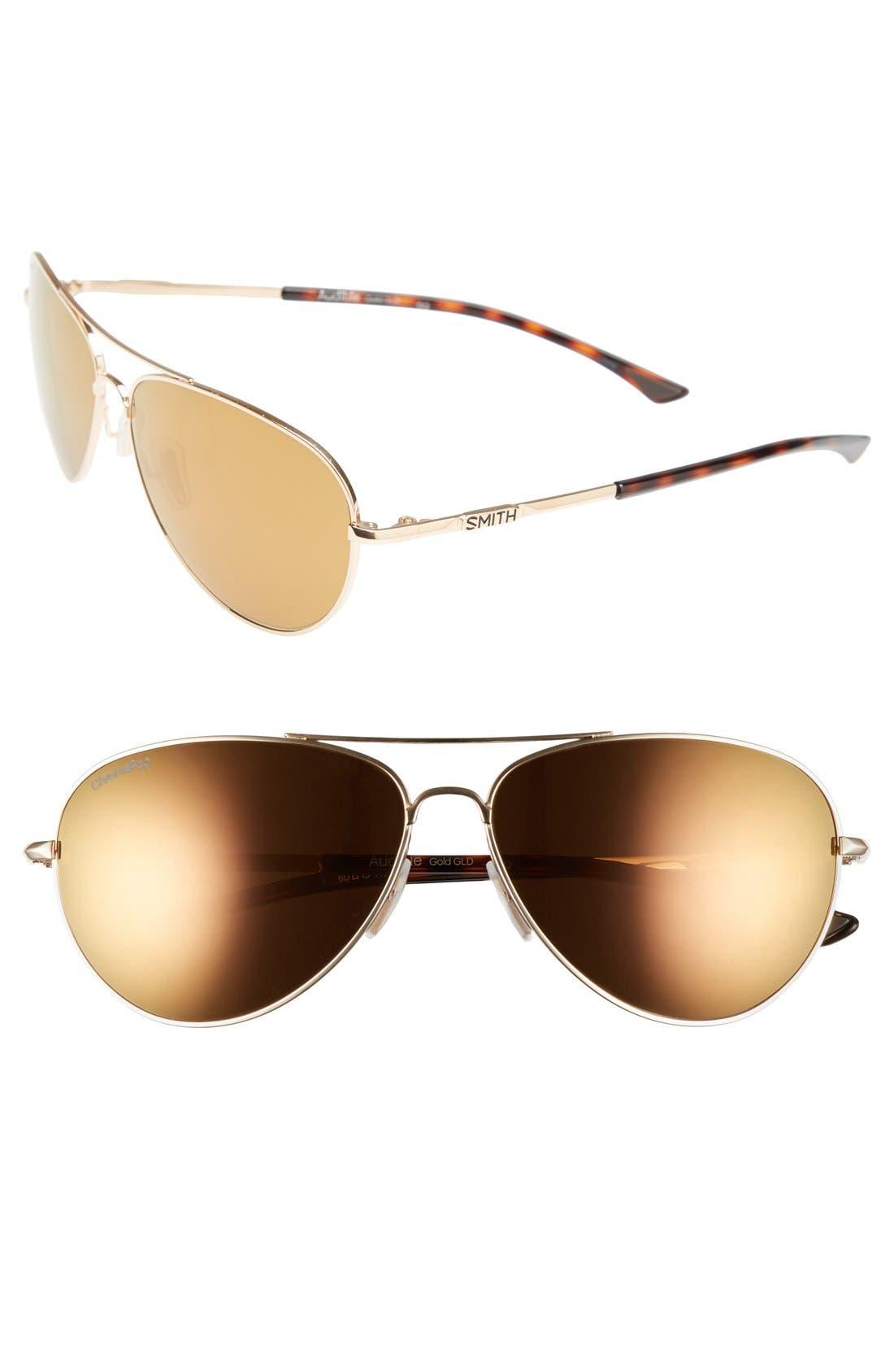 'Audible - ChromaPop' 60mm Polarized Aviator Sunglasses,                         Main,                         color, Gold/ Polar Bronze Mirror