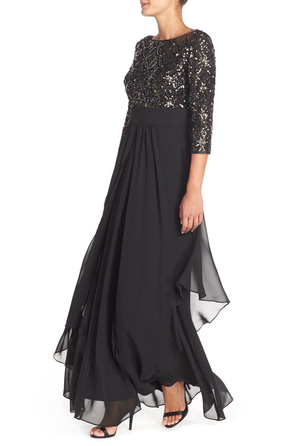 Embellished Tiered Chiffon Fit & Flare Gown,                             Alternate thumbnail 4, color,                             Black/ Grey