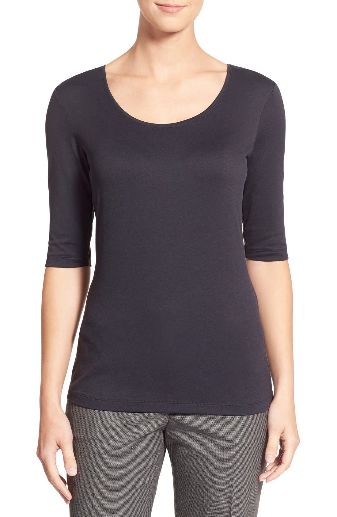Main Image - BOSS Scoop Neck Stretch Jersey Top