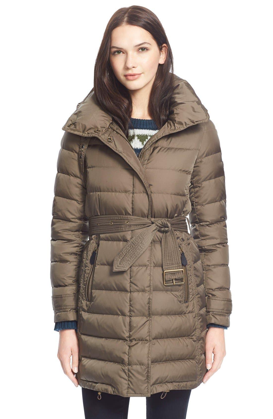 Alternate Image 1 Selected - BurberryBrit'Winterleigh' Belted Down Coat