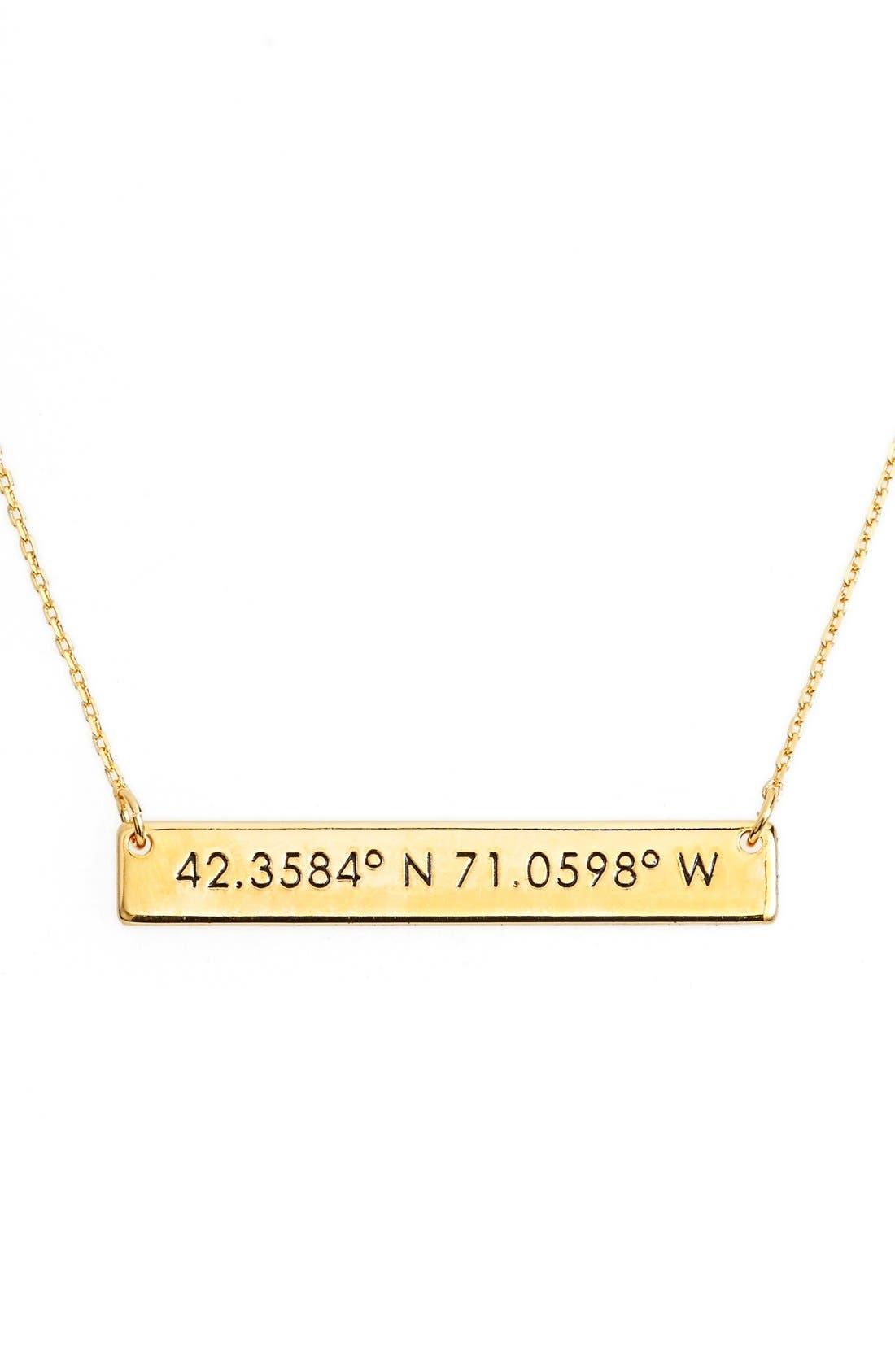 Coordinate Bar Pendant Necklace,                             Main thumbnail 1, color,                             Gold/ Boston
