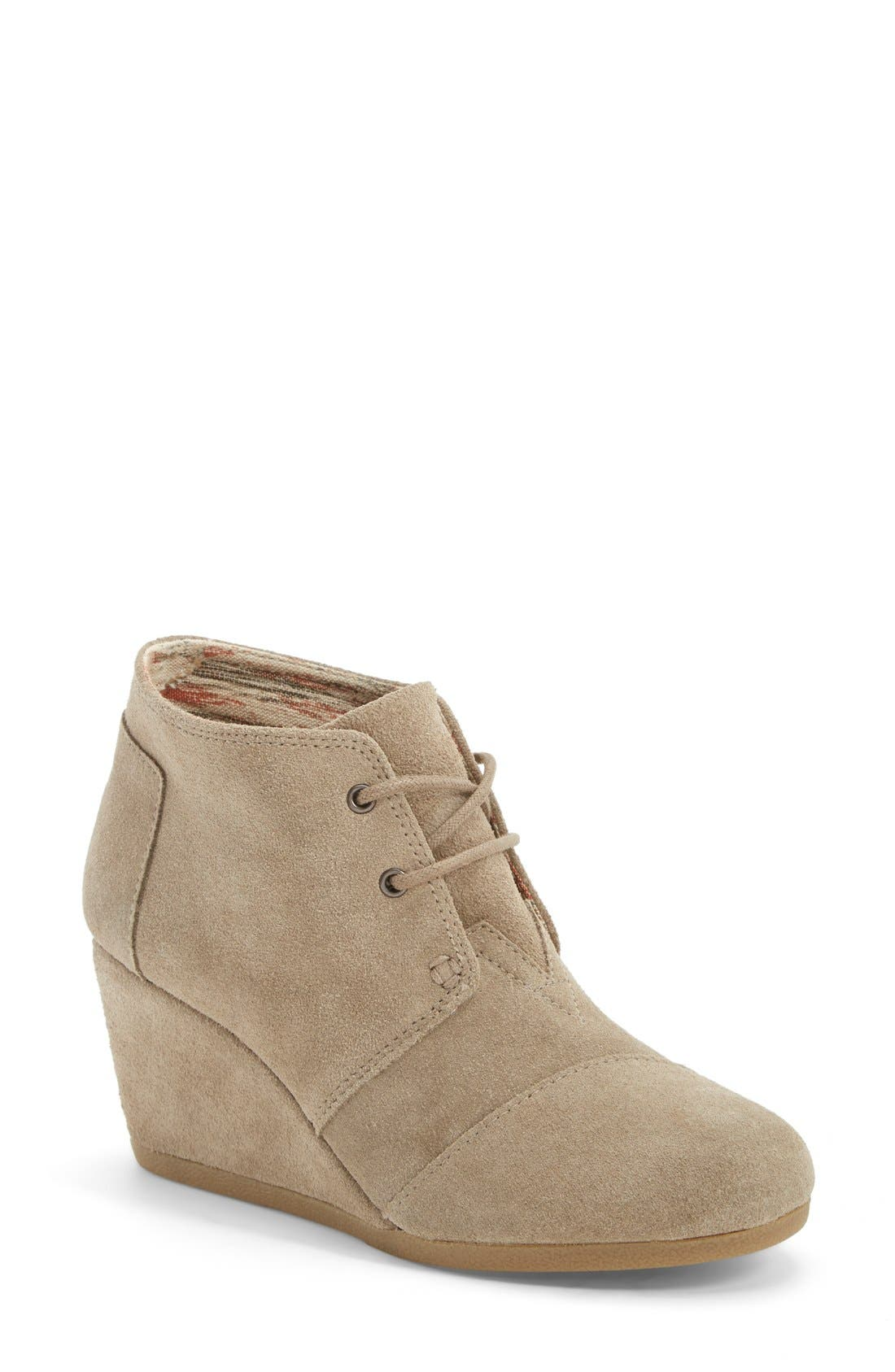 'Desert' Wedge Bootie,                             Main thumbnail 1, color,                             Taupe Suede