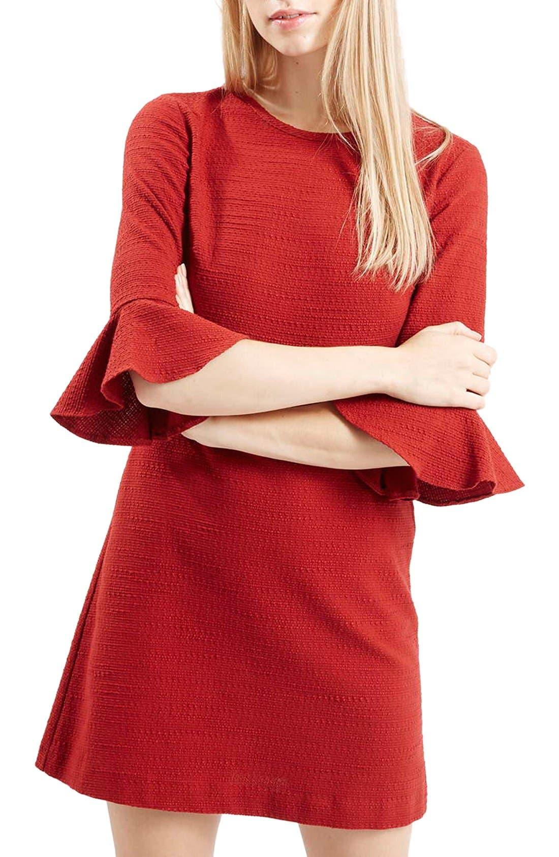 Main Image - Topshop Fluted Sleeve Dress (Regular & Petite)