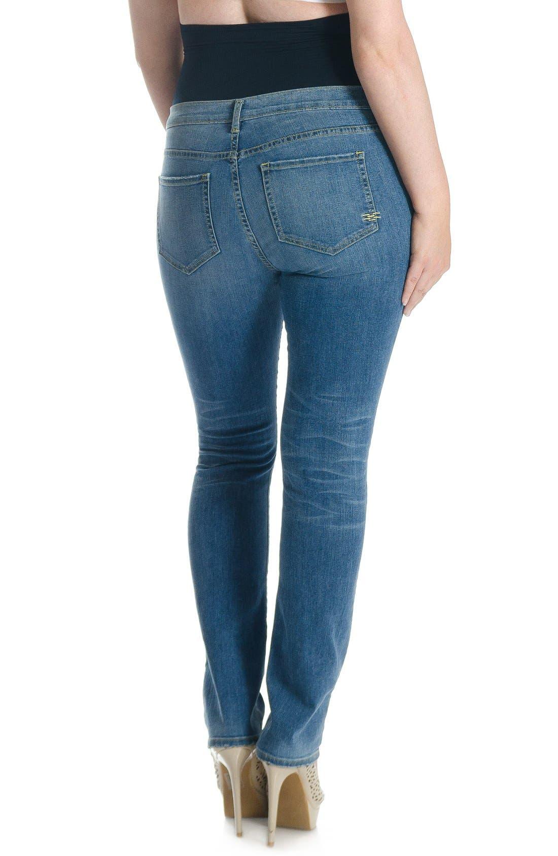 Mid Rise Straight LegShapewearJeans,                             Alternate thumbnail 2, color,                             Light Wash