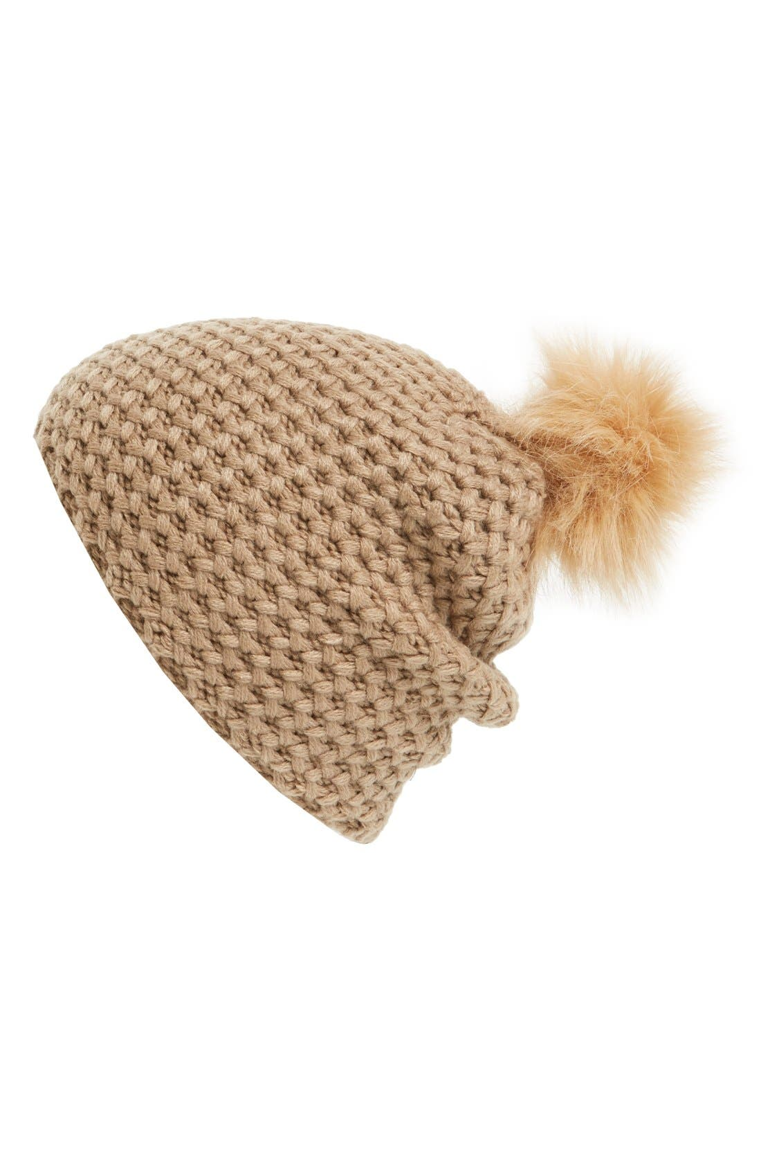 Main Image - Phase 3 Faux Fur Pompom Beanie