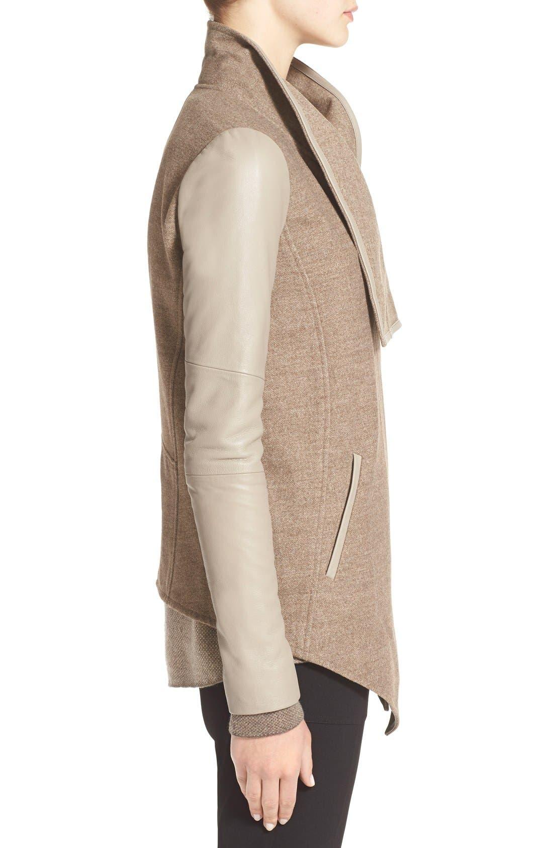 Alternate Image 3  - Vince Leather Trim Drape Neck Jacket
