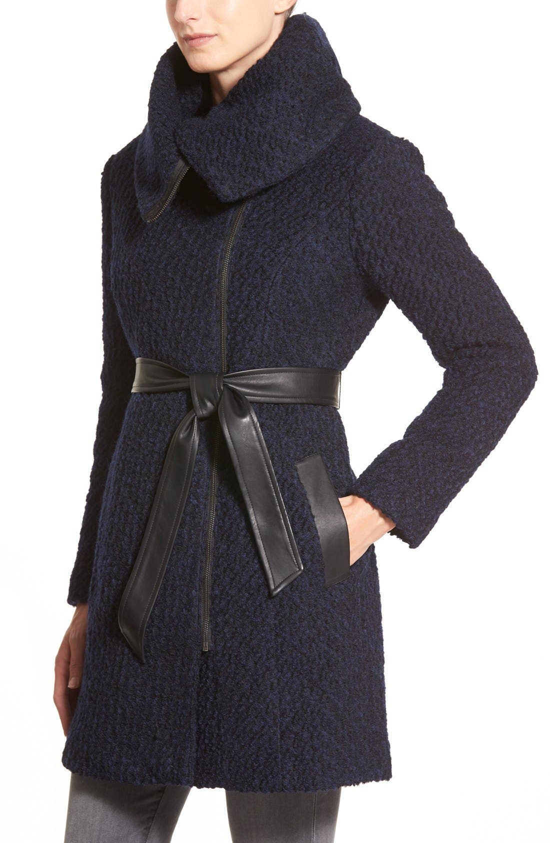 Belted Asymmetrical Bouclé Wool Blend Coat,                             Alternate thumbnail 3, color,                             Black/ Navy