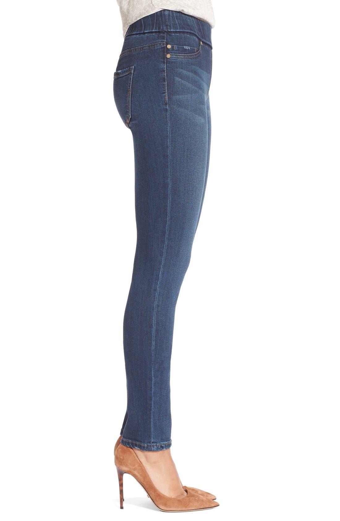 Sienna Pull-On Knit Denim Leggings,                             Alternate thumbnail 3, color,                             Petrol Wash