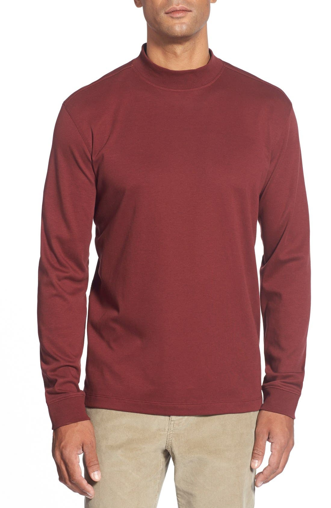 Main Image - Cutter & Buck 'Belfair' Long Sleeve Mock Neck Pima Cotton T-Shirt