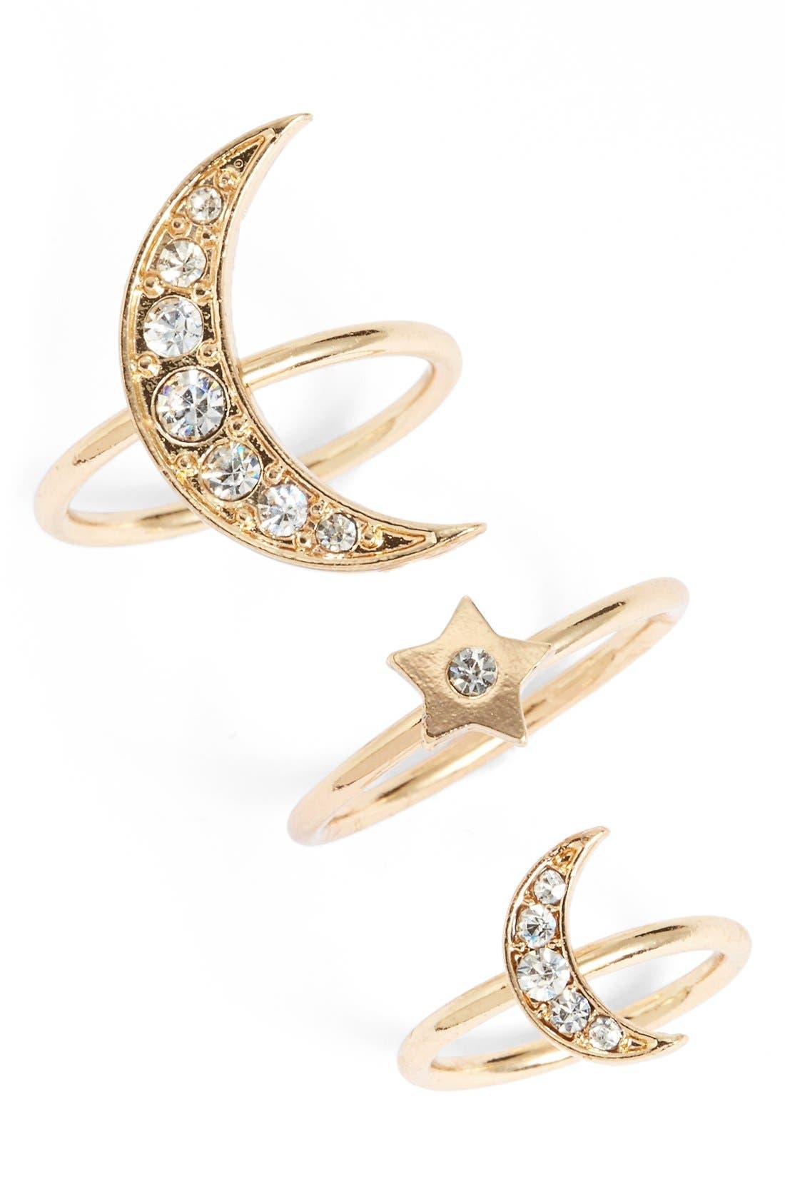 Main Image - Topshop Moon & Stars Goldtone Rings (Set of 3)
