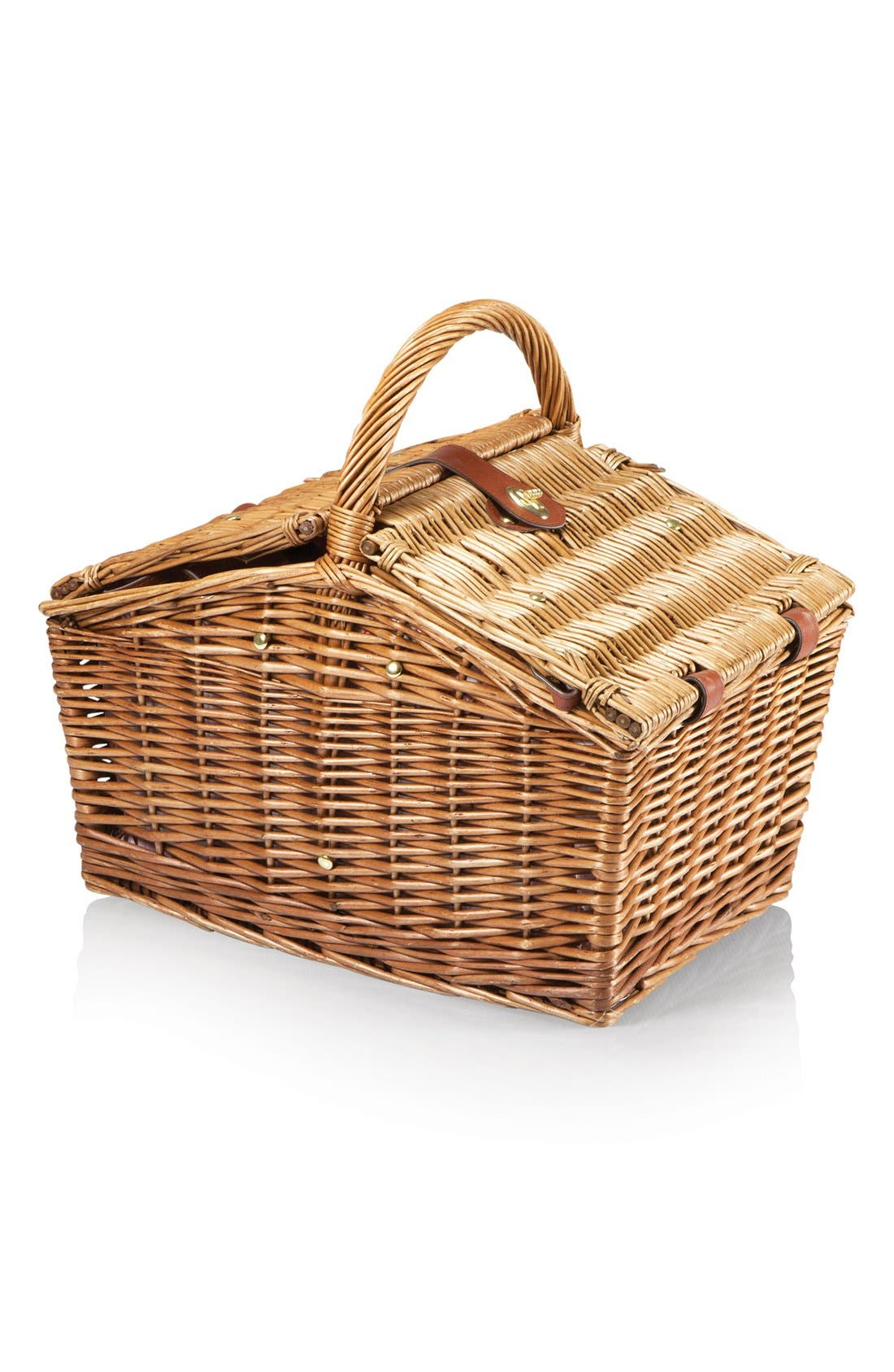 'Piccadilly' Wicker Picnic Basket,                             Alternate thumbnail 3, color,                             Red