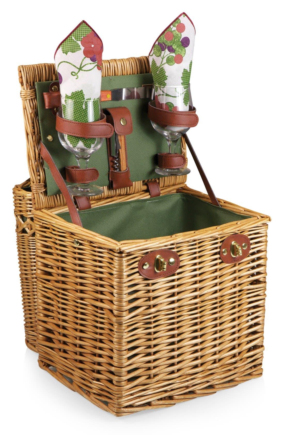 'Vino' Wine & Cheese Picnic Basket,                         Main,                         color, Green