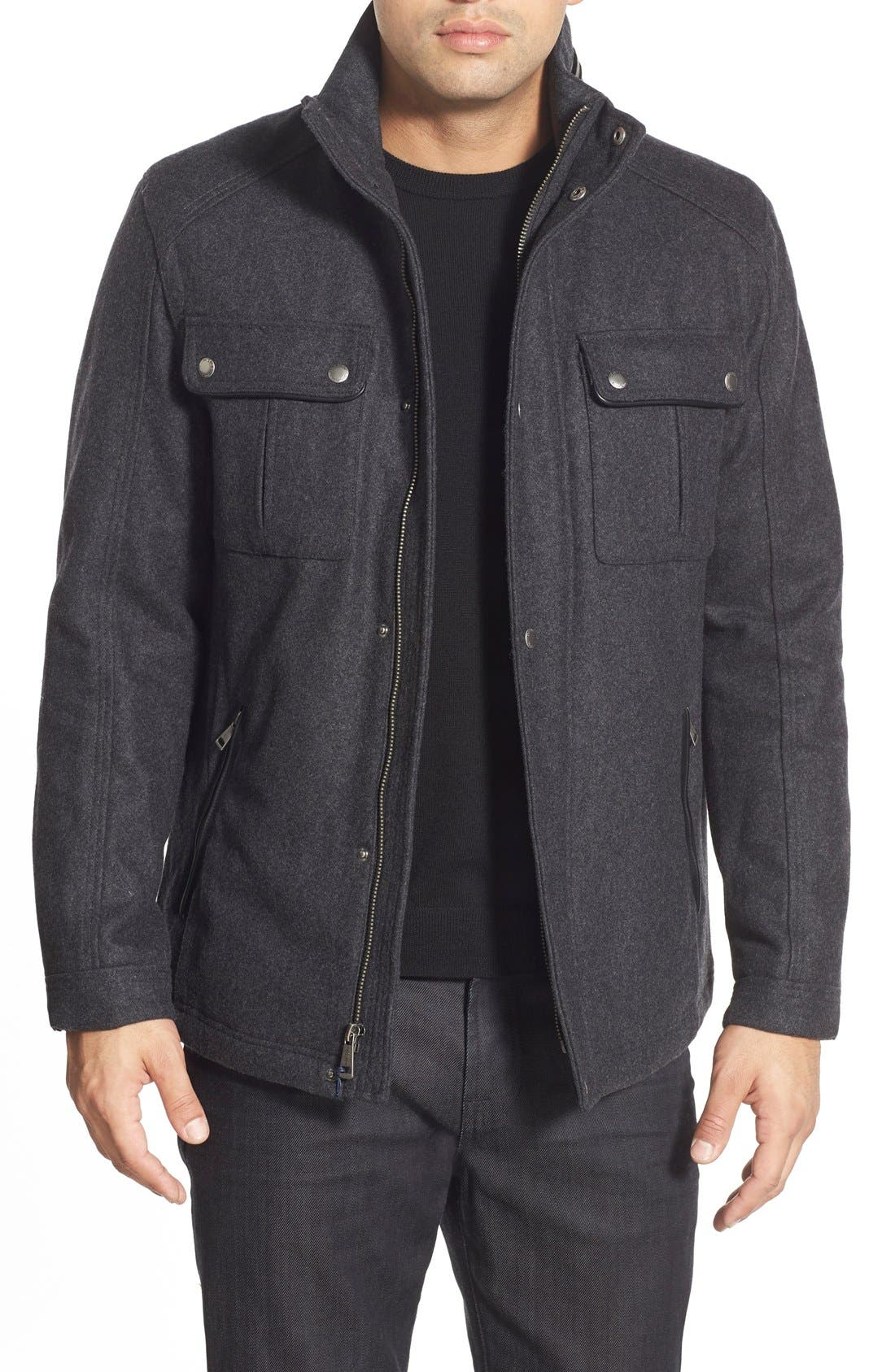 Melton Coat,                         Main,                         color, Charcoal