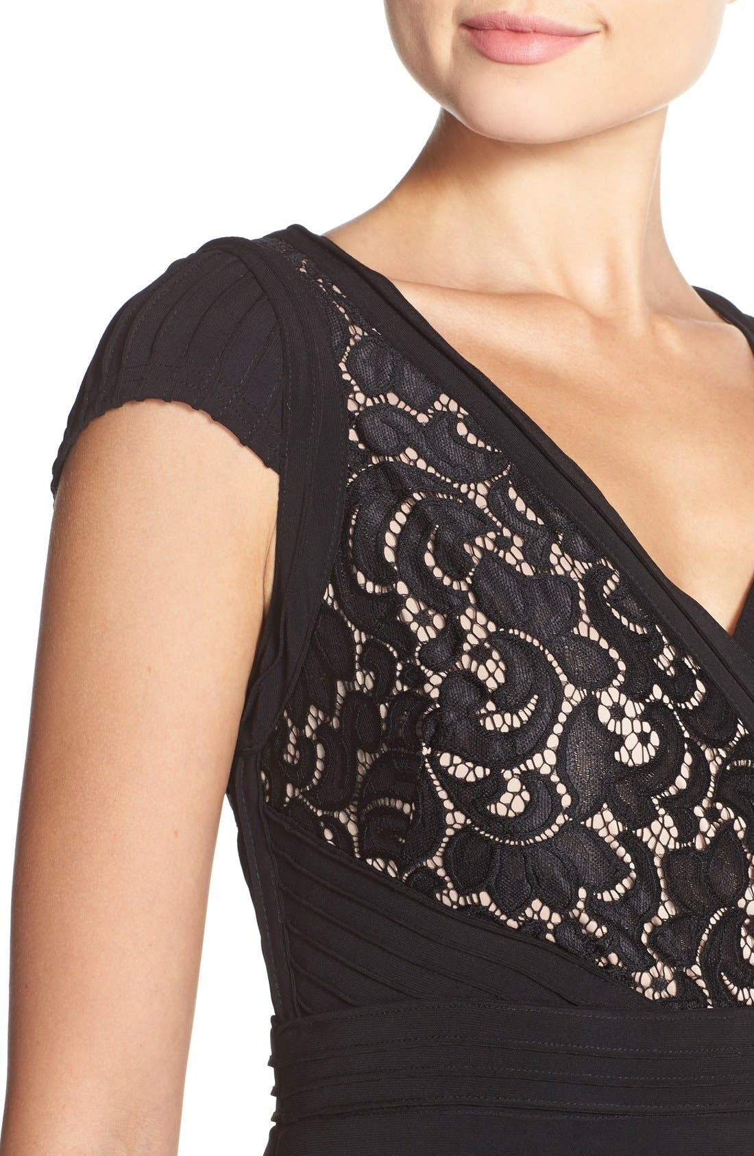 Lace & Jersey Sheath Dress,                             Alternate thumbnail 5, color,                             Black