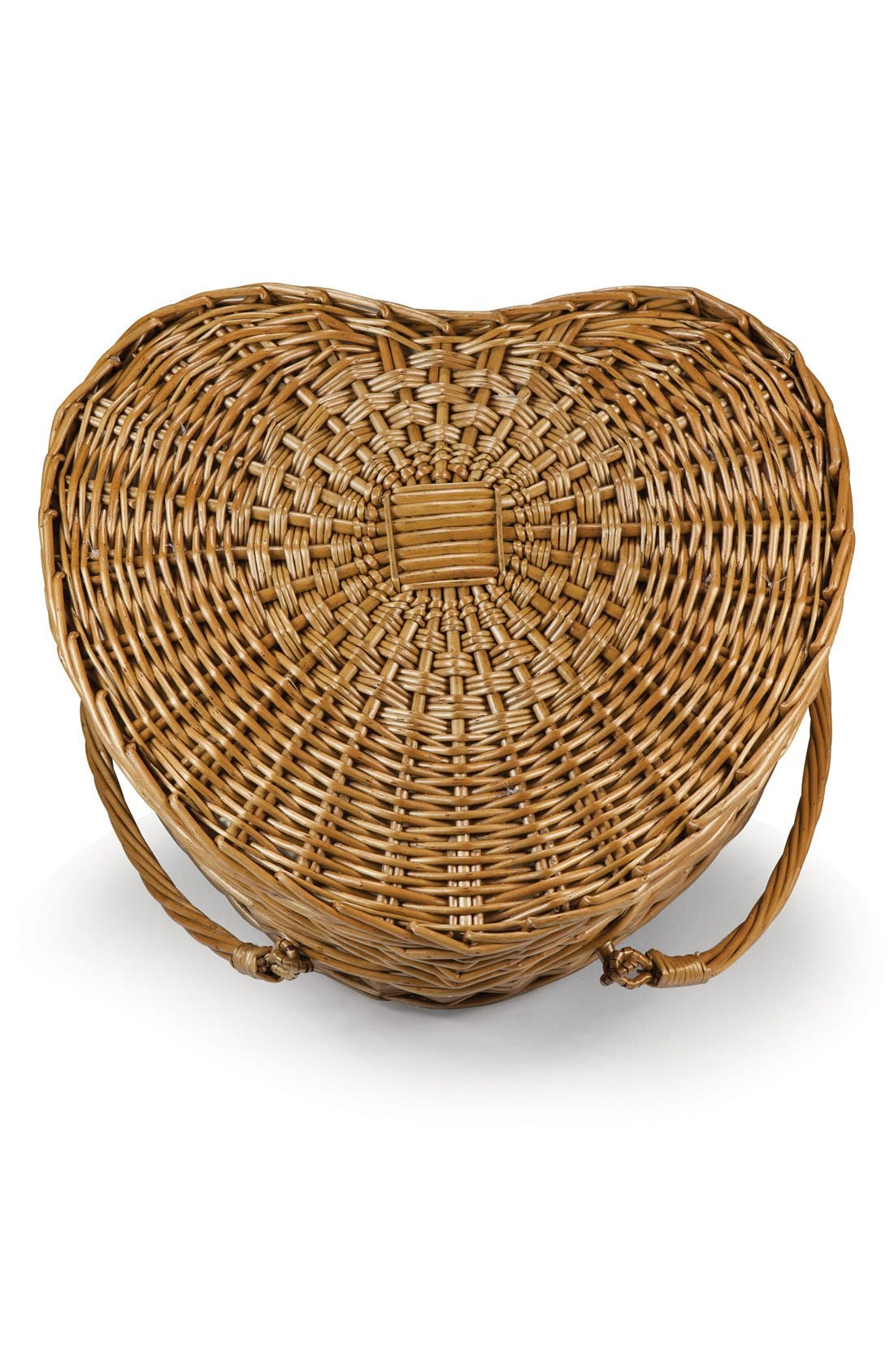 Heart Shaped Wicker Picnic Basket,                             Alternate thumbnail 5, color,                             Brown