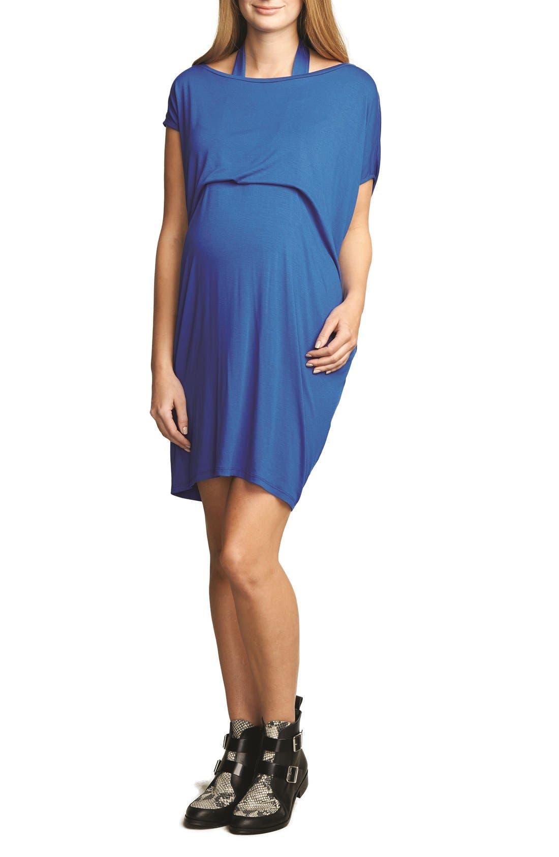 Halter MaternityDress,                         Main,                         color, Cobalt