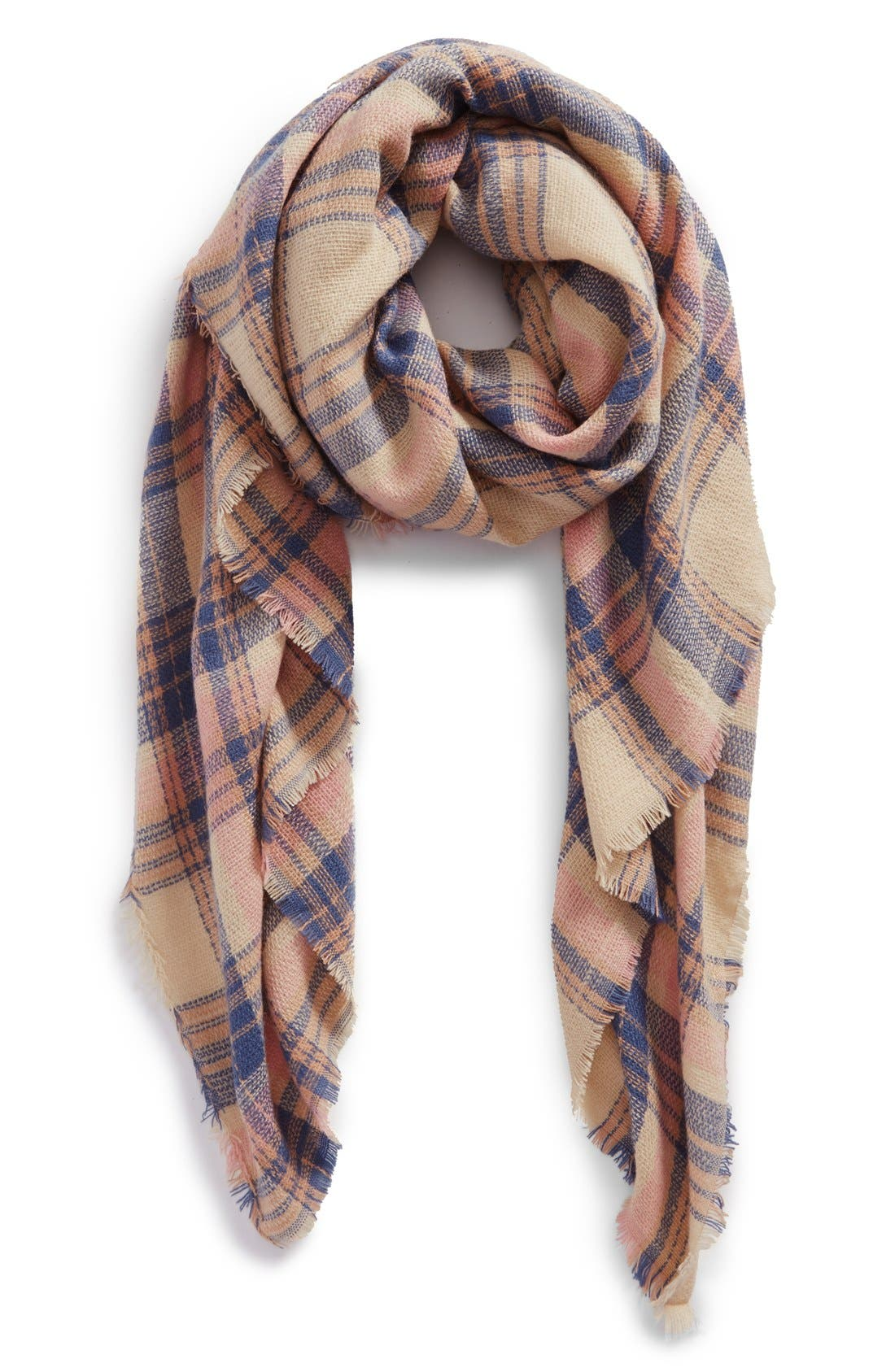 Main Image - BP. Pretty Plaid Oblong Scarf