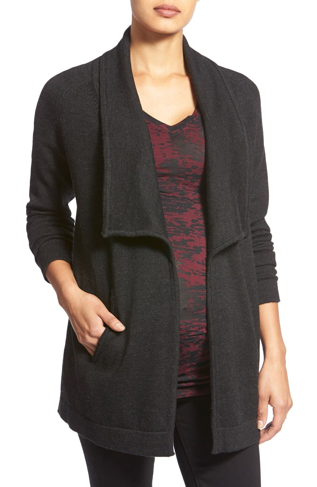 'Bain' Open Front Maternity Cardigan,                         Main,                         color, Heathered Black