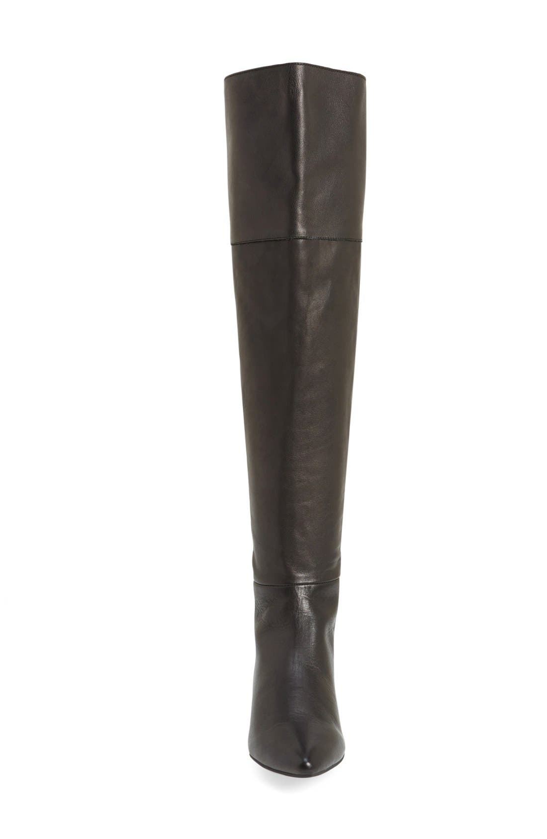 'York' Over the Knee Boot,                             Alternate thumbnail 3, color,                             Black Leather
