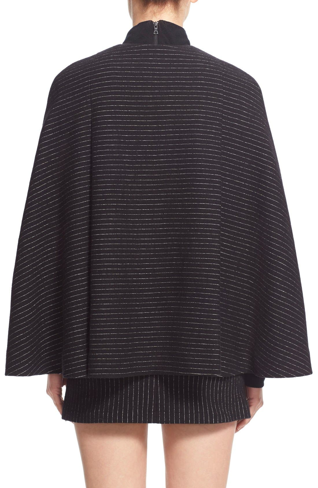 Alternate Image 2  - Alice + Olivia 'Kingsley' Pinstripe Wool Cape Coat