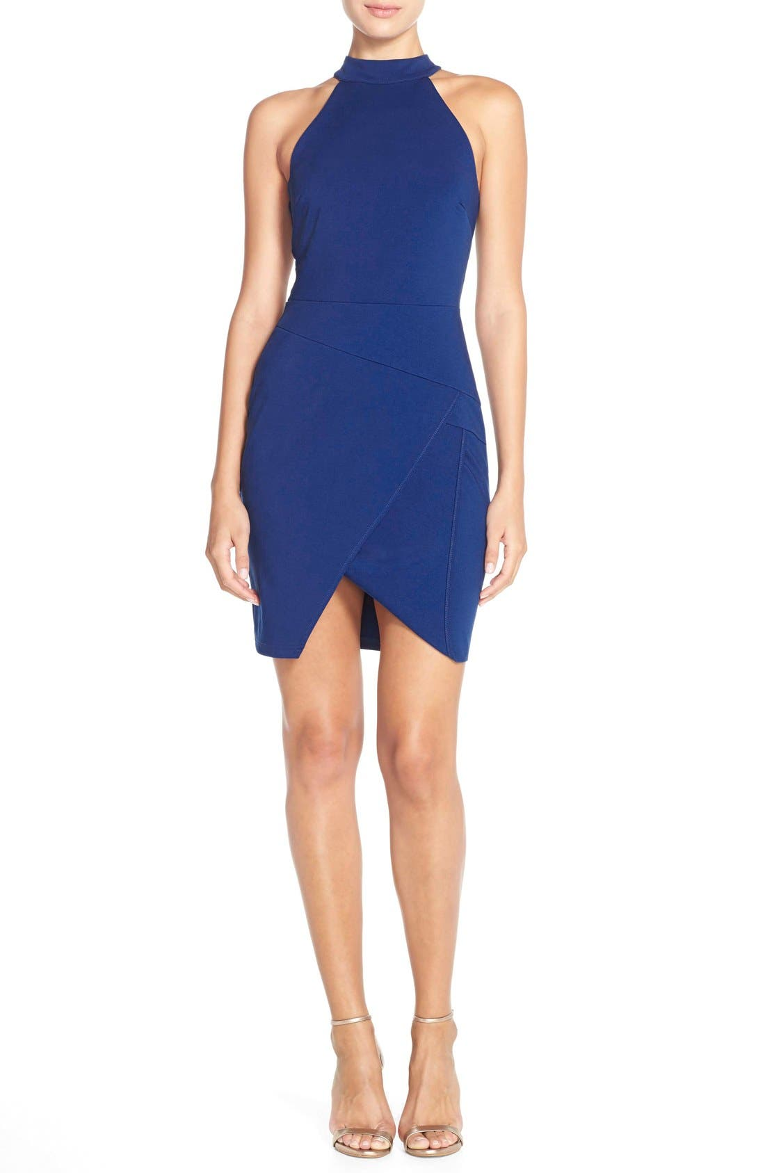 Alternate Image 4  - Adelyn Rae Split Front Ponte Body-Con Dress