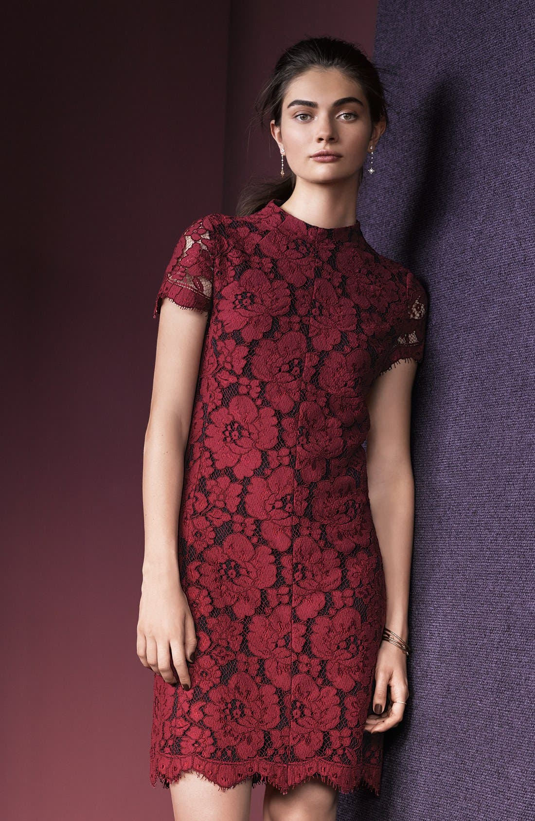 Alternate Image 5  - Betsey Johnson Mock Neck Lace Sheath Dress