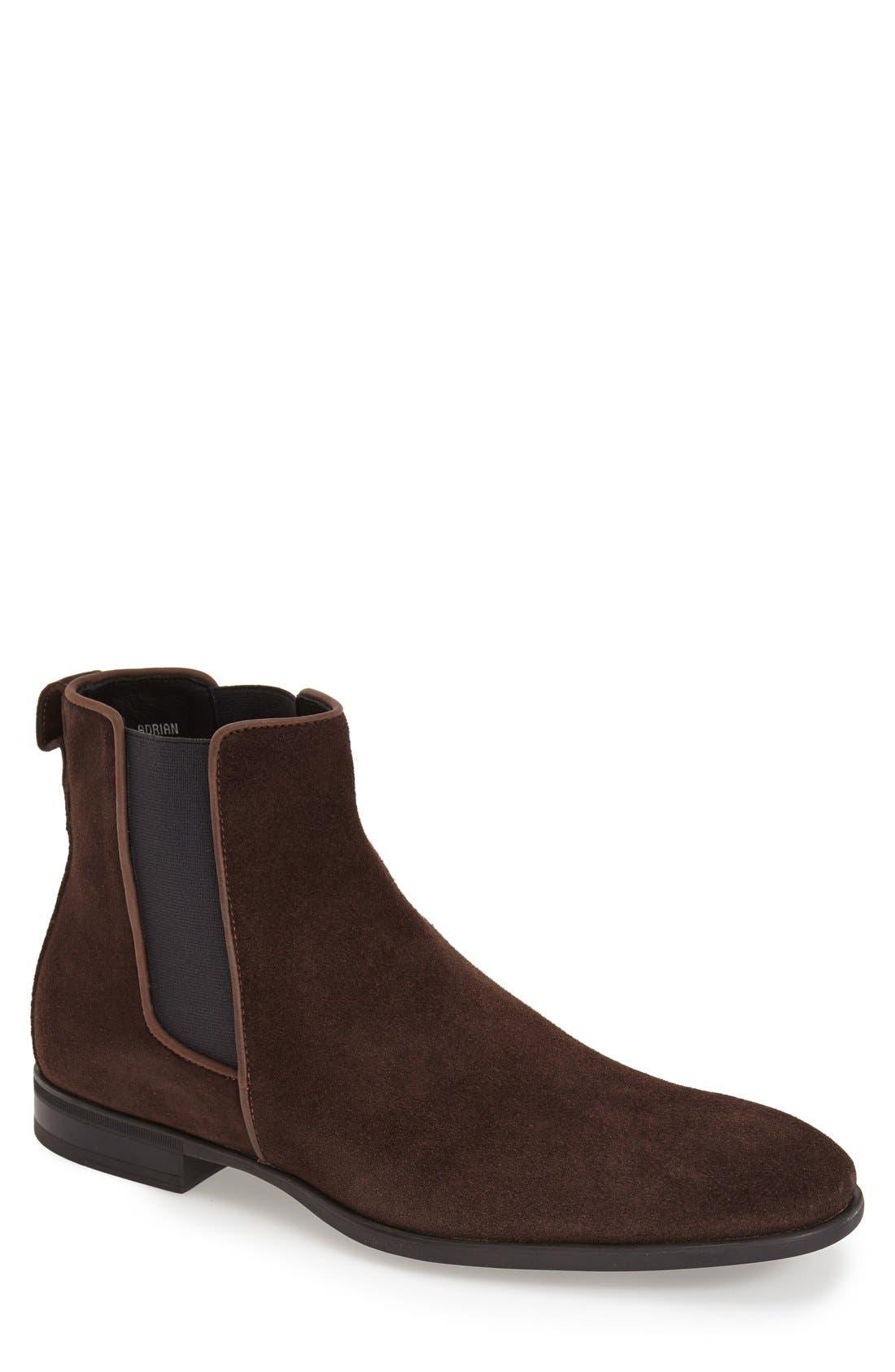 'Adrian' Weatherproof Chelsea Boot,                         Main,                         color, Dark Brown Suede
