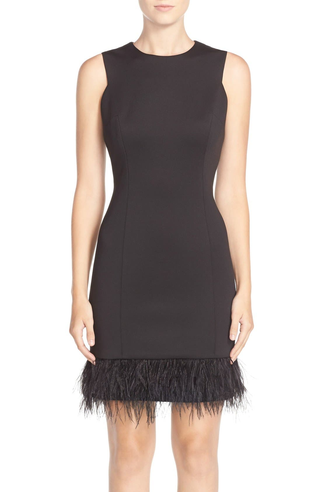 Alternate Image 1 Selected - MaiaFeather Accent Techno Sheath Dress