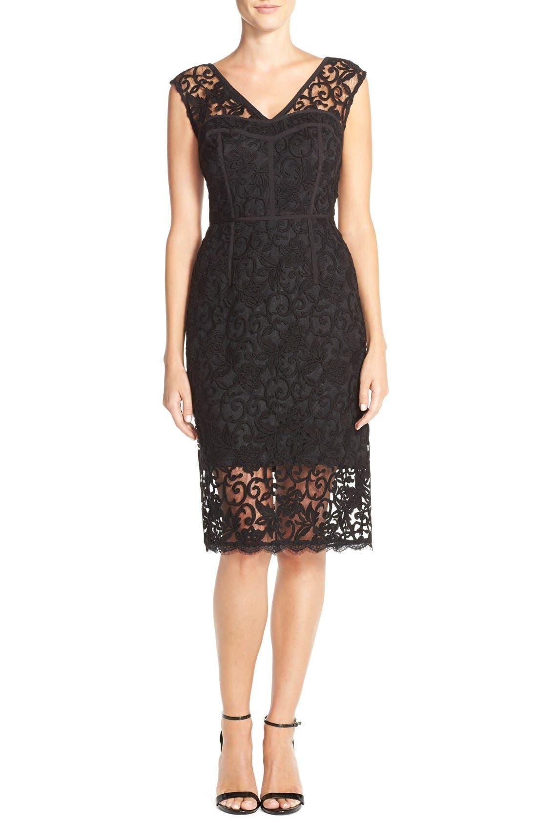Alternate Image 4  - Adrianna Papell Illusion Lace Sheath Dress
