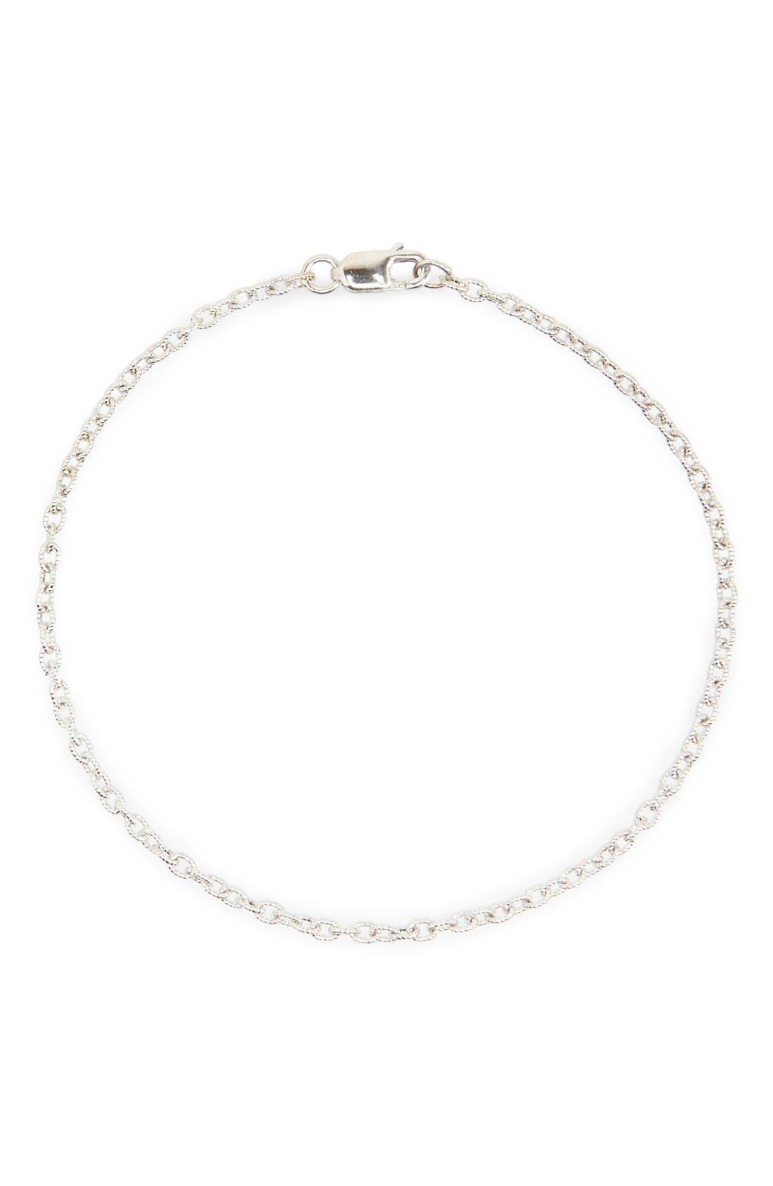 Etched Link Bracelet,                         Main,                         color, White Gold