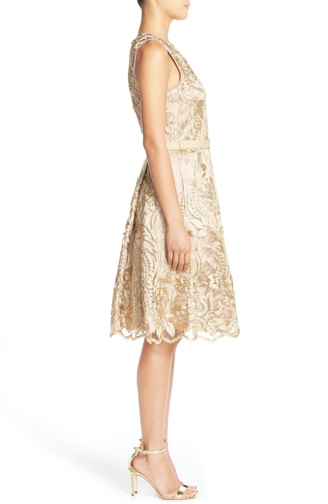 Alternate Image 3  - Eliza J Belted Embroidered Charmeuse Fit & Flare Dress