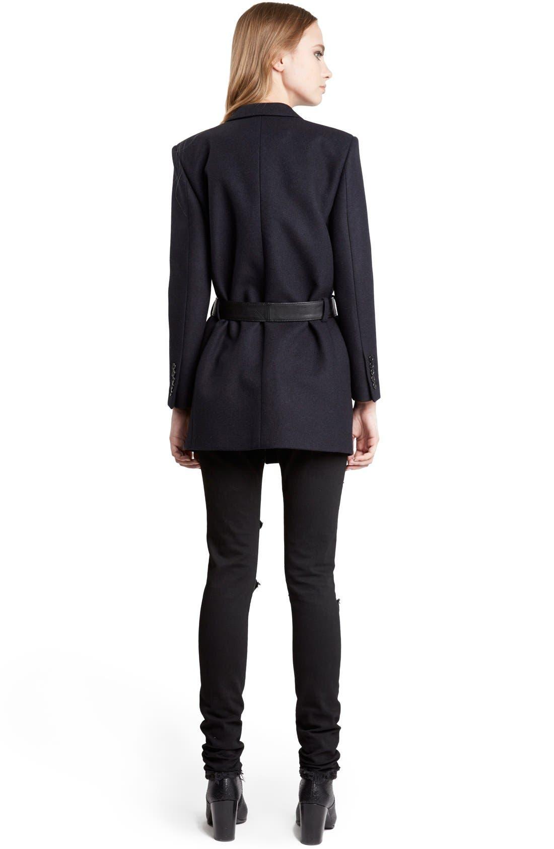 Alternate Image 2  - Saint Laurent Wool Coat with Belt