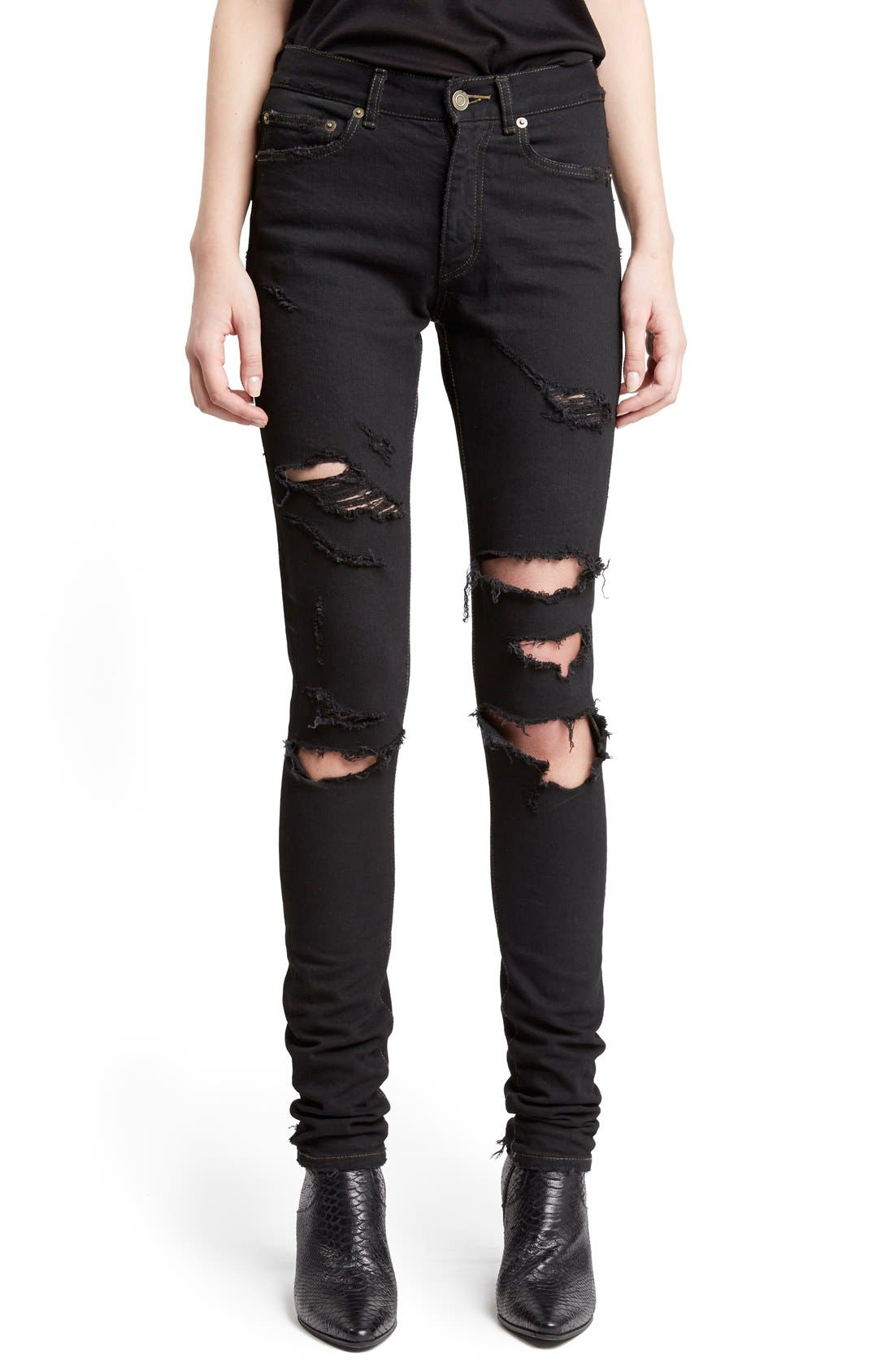 Main Image - Saint Laurent Destroyed Skinny Jeans
