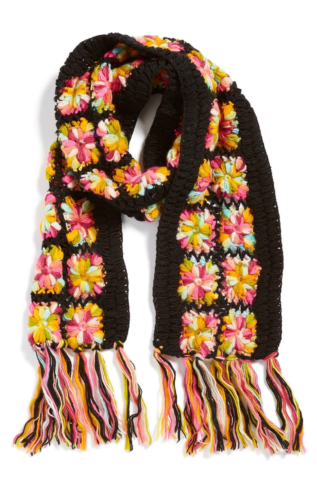 Main Image - Nirvanna Designs Crochet Flower Scarf