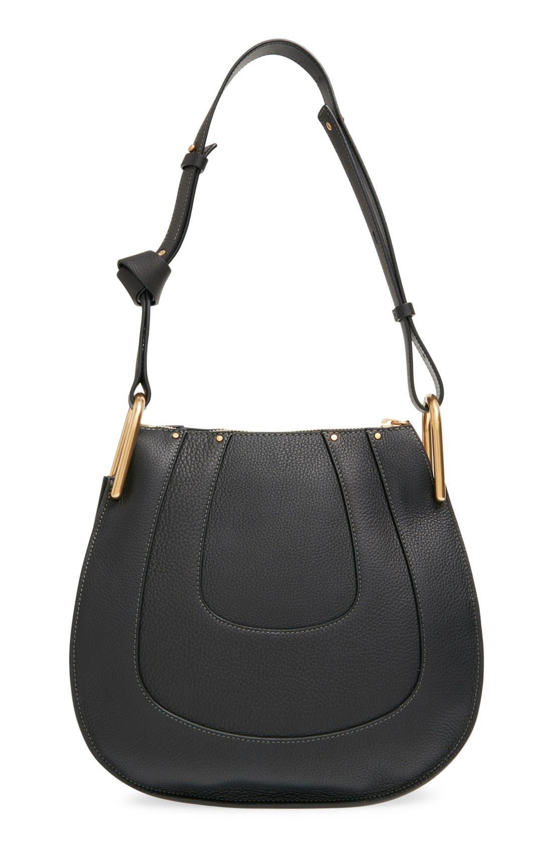 'Small Hayley' Leather Hobo Bag,                             Alternate thumbnail 3, color,                             Black