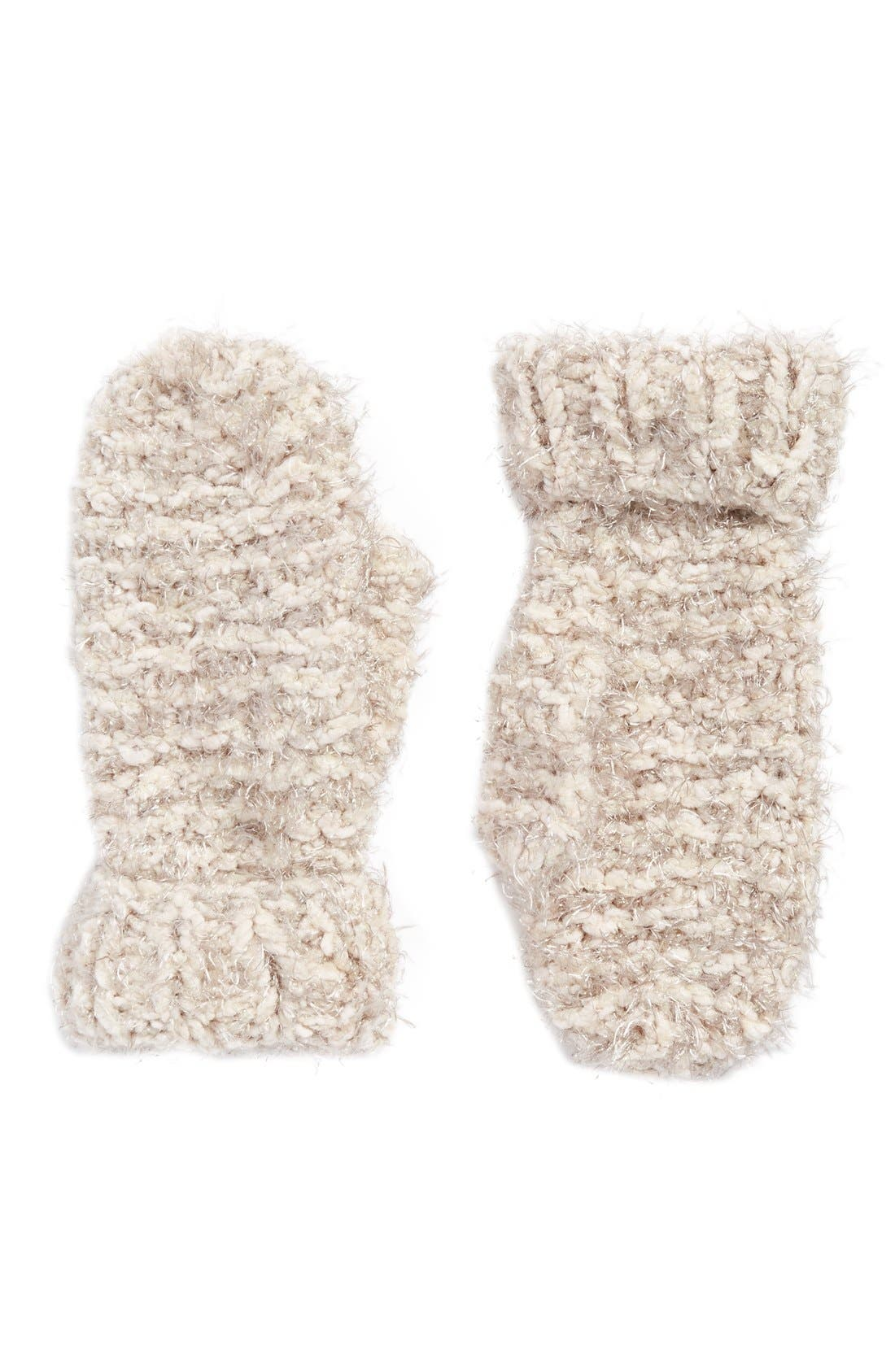 Popcorn Knit Mittens,                         Main,                         color, Chocolate