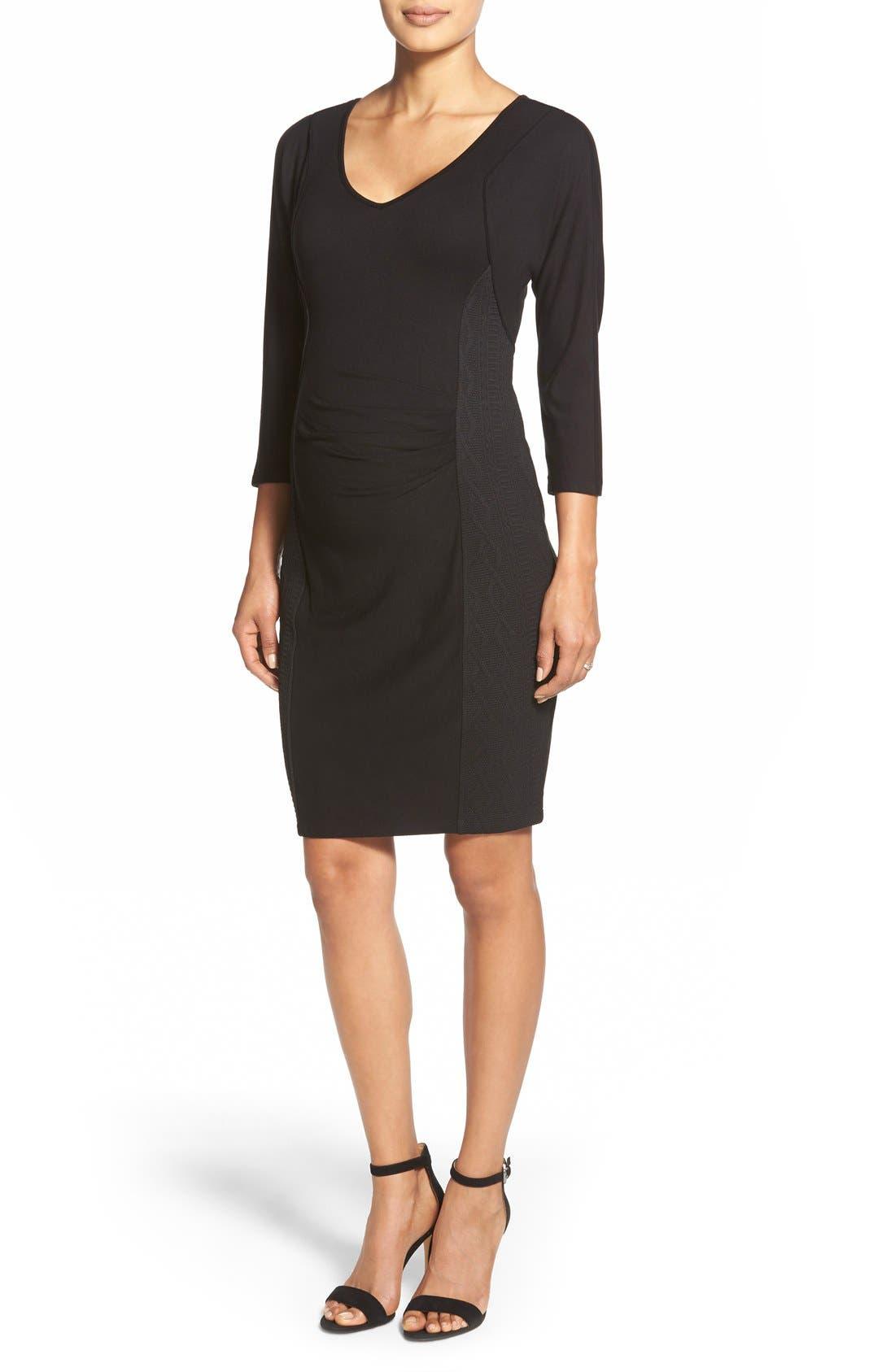 'Telsa' Maternity Dress,                             Main thumbnail 1, color,                             Black