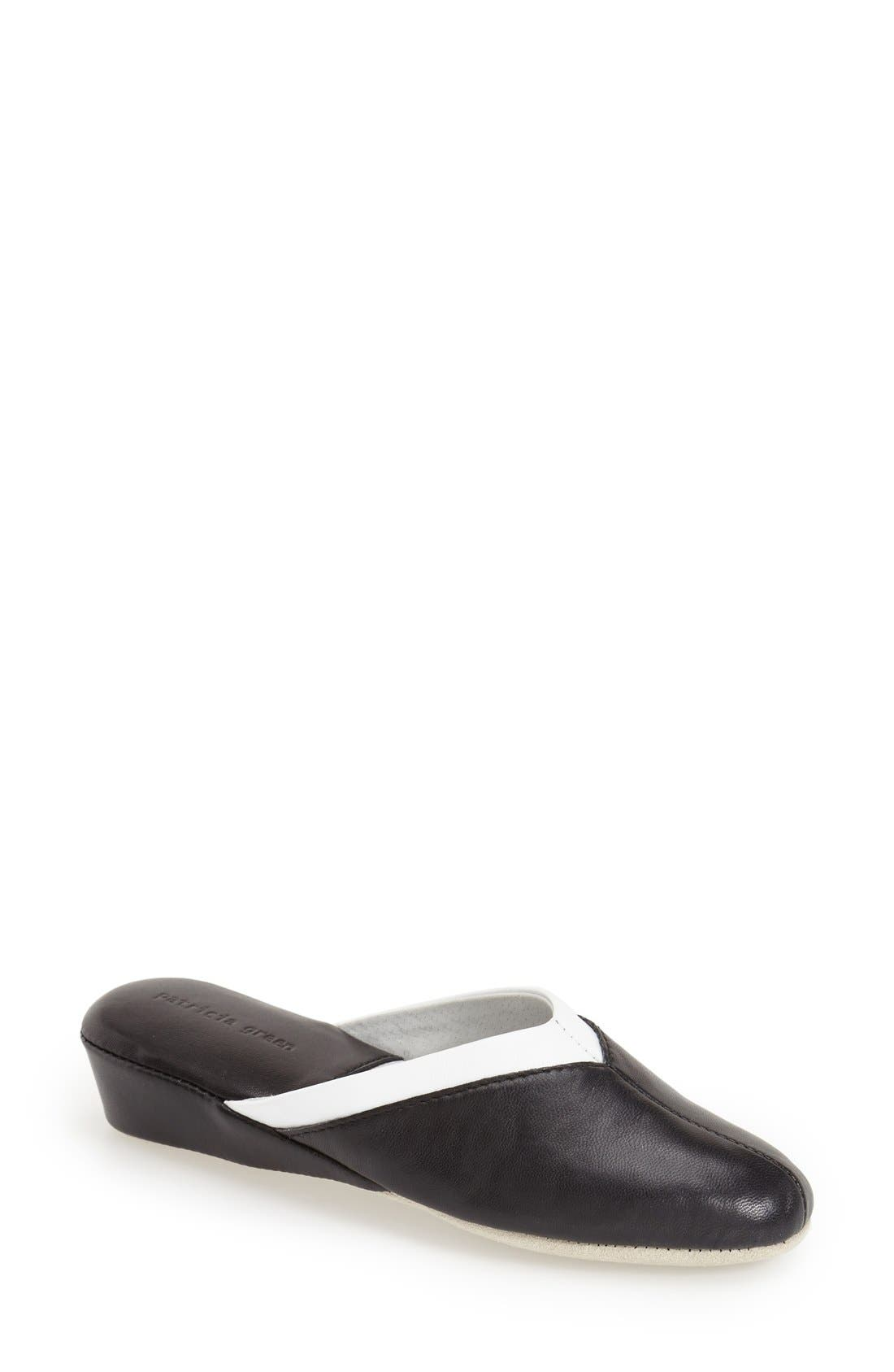 'Valerie' Wedge Mule Slipper,                             Main thumbnail 1, color,                             Black Leather