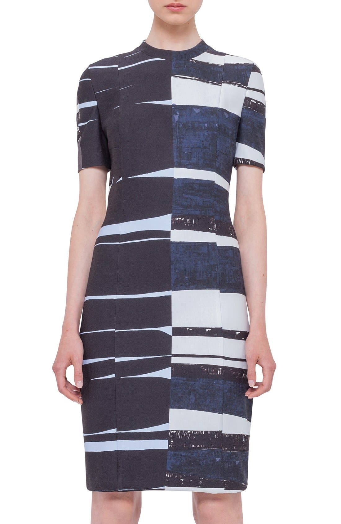 Alternate Image 1 Selected - Akris punto Print Short Sleeve Sheath Dress