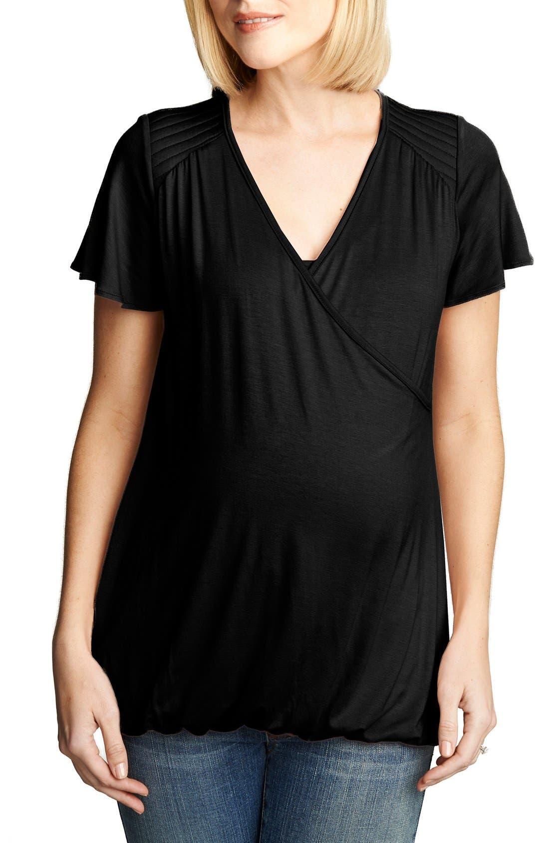 Flutter Sleeve Nursing Top,                         Main,                         color, Black