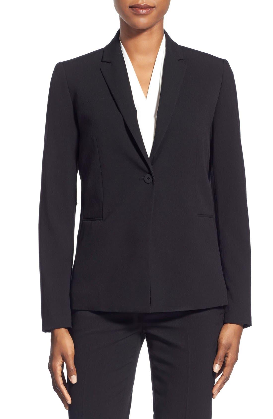 Jolie Stretch Woven Suit Jacket,                             Main thumbnail 1, color,                             Black