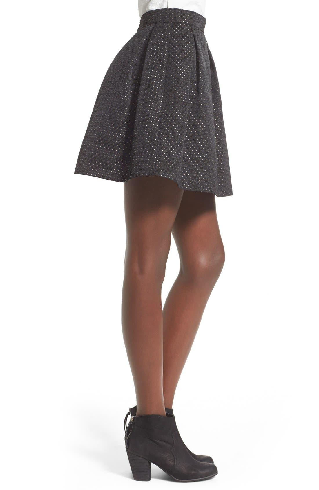 Alternate Image 3  - Soprano Metallic Dot Textured Skater Skirt