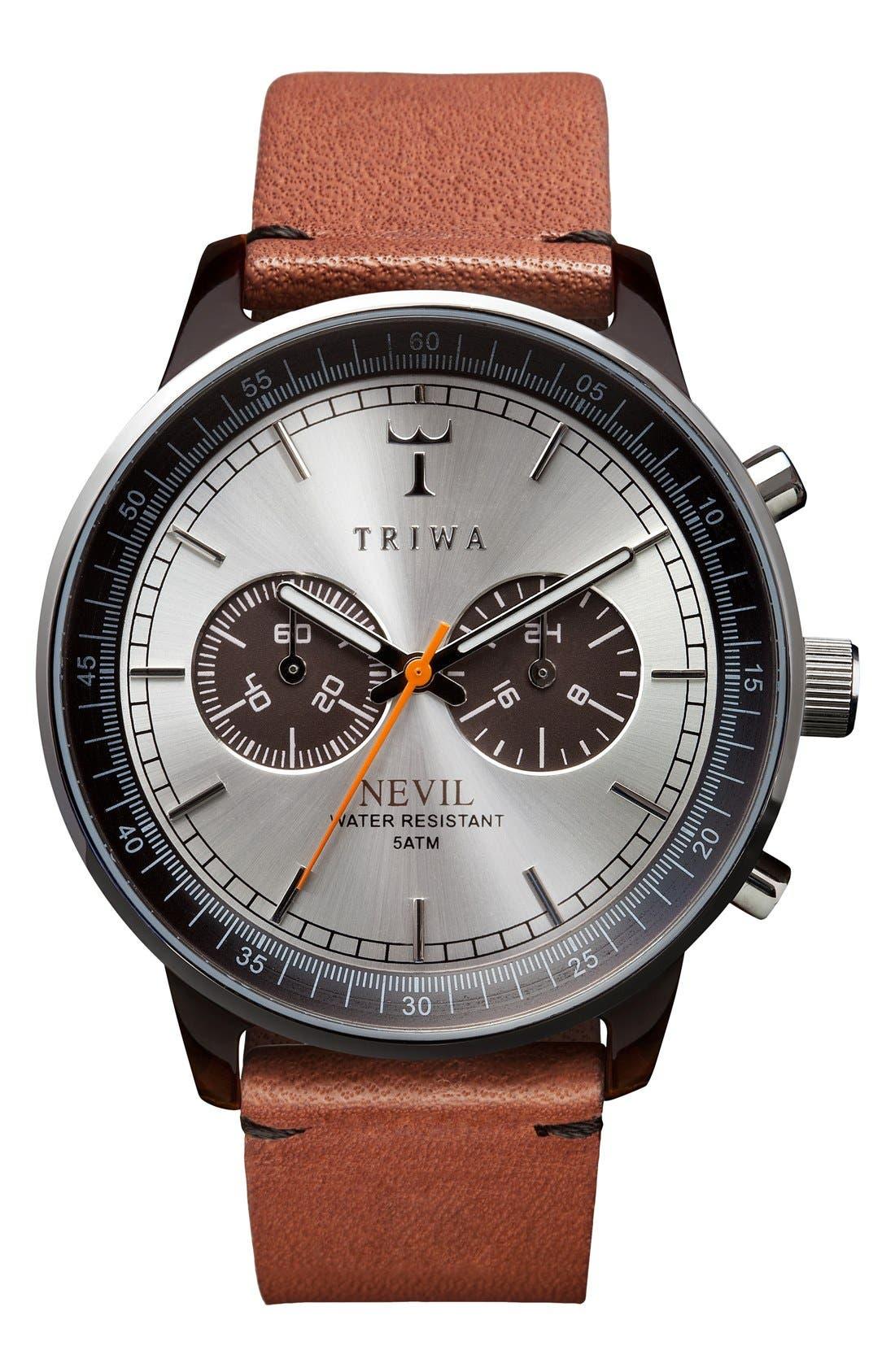 TRIWA HAVANA NEVIL CHRONOGRAPH LEATHER STRAP, 42MM