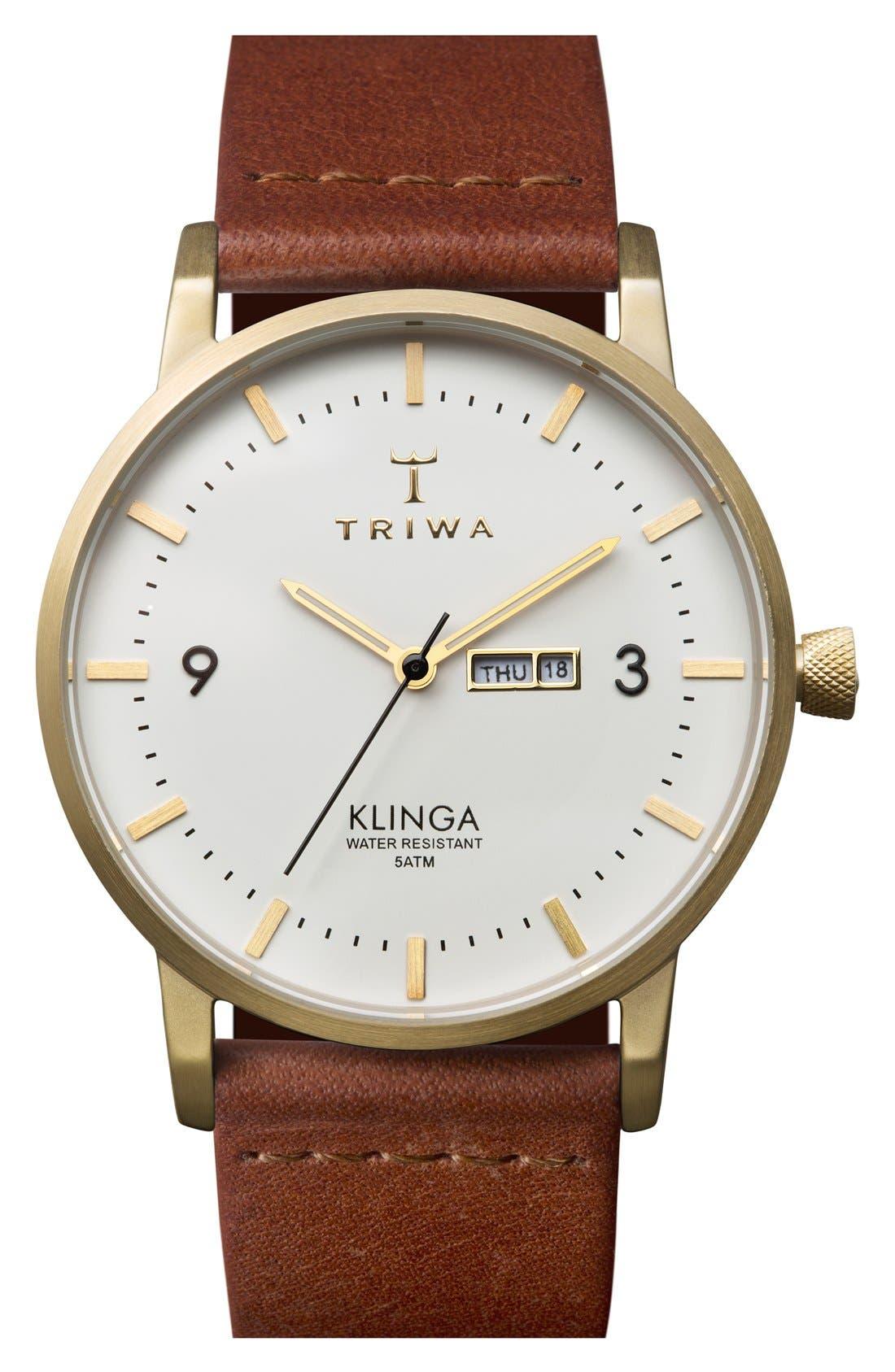 Klinga Organic Leather Strap Watch, 38mm,                             Main thumbnail 1, color,                             Cognac/ White