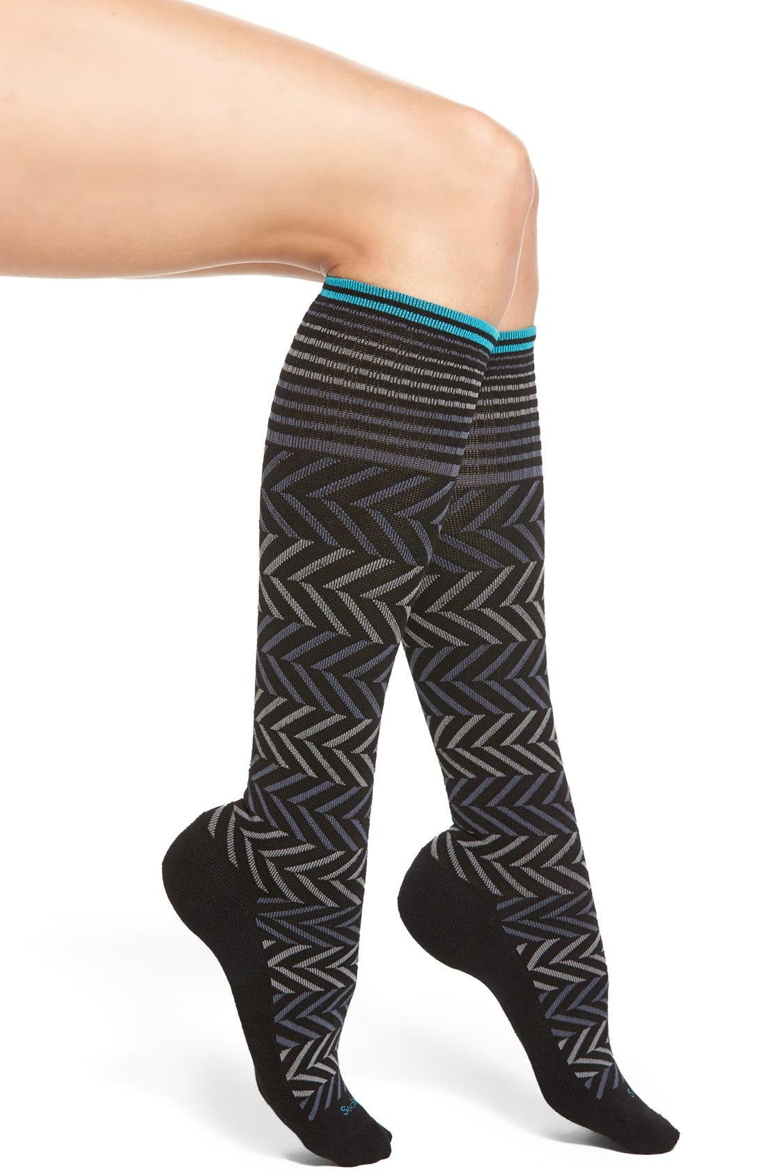 Graduated Compression Socks,                             Main thumbnail 1, color,                             Black