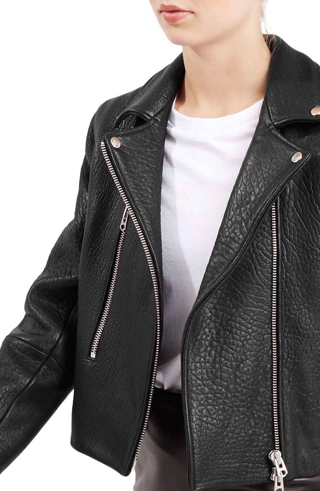 Alternate Image 6  - Topshop Boutique Leather Biker Jacket