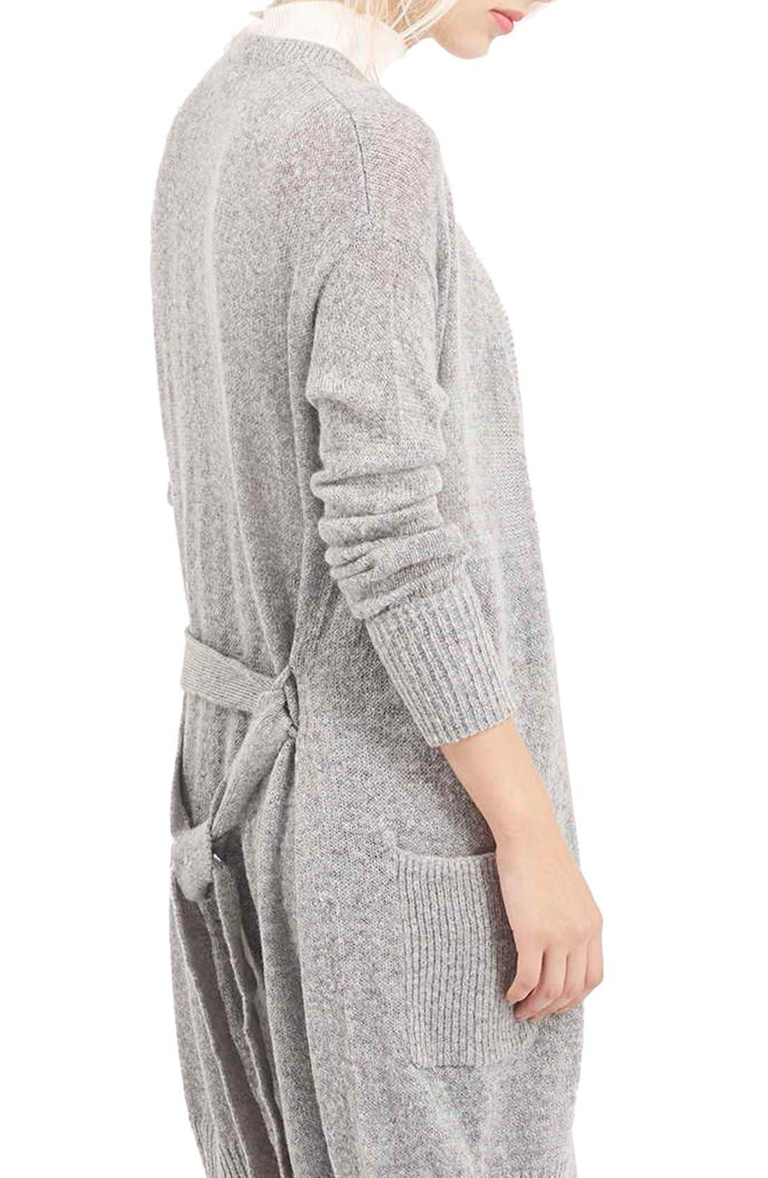 'Lulu' Belted Longline Cardigan,                             Alternate thumbnail 3, color,                             Light Grey