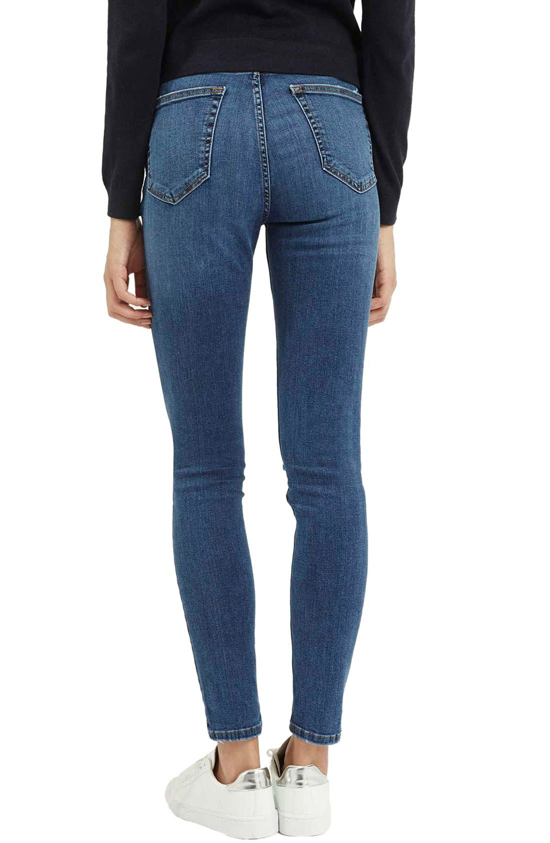 Alternate Image 3  - Topshop Moto 'Jamie' Ripped Ankle Jeans (Mid Denim) (Regular & Short)
